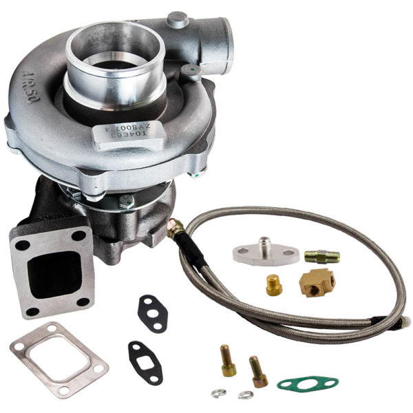 T04E T3/T4 A/R TRIM 5-Bolt 400+HP Stage III Turbo Charger+Oil Feed Line