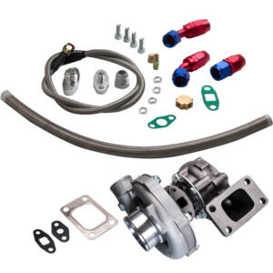T04E T3/T4 A/R.63 57 Trim 400HP Stage III Turbo Charger + Oil Feed + Drain Line Kit