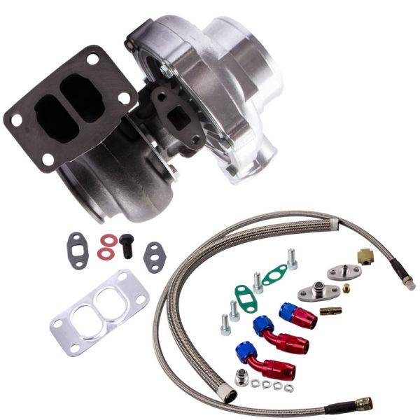 Universal T70 Turbo Turbocharger T3 .82 A/R + Oil Drain Return FEED Line Kit TCD